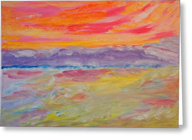 Greeting Card featuring the painting Whipped Cream Skies by Meryl Goudey