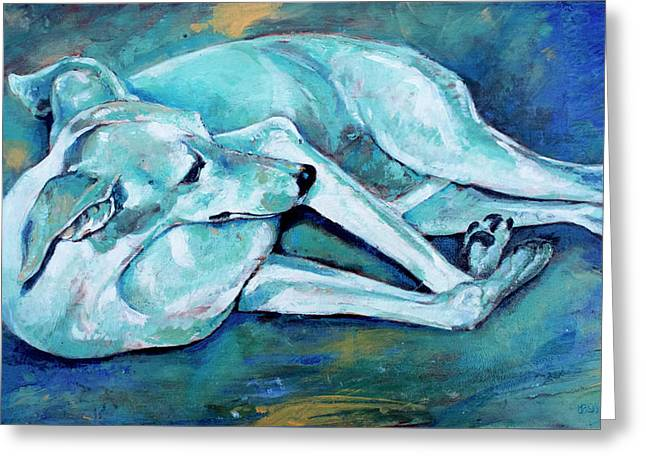 Whippet-effects Of Gravity-3 Greeting Card by Derrick Higgins