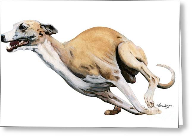Whippet In The Wind Greeting Card by Liane Weyers