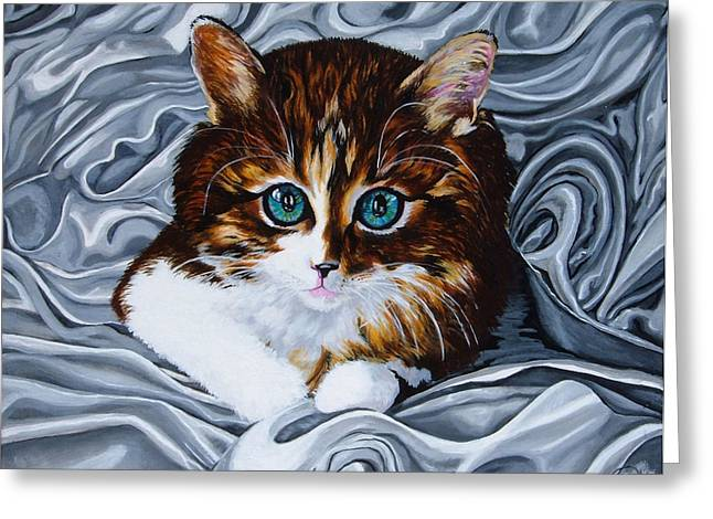 Whiskers The Cat Greeting Card by Annette Jimerson