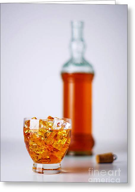 Whiskey Glass Greeting Card by Carlos Caetano