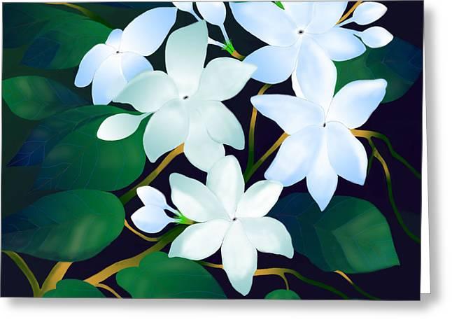 Greeting Card featuring the digital art Whispering Jasmines by Latha Gokuldas Panicker