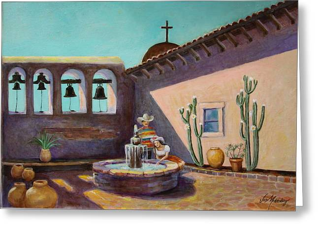 Whispering Waters At Mission San Juan Capistrano Greeting Card by Jan Mecklenburg