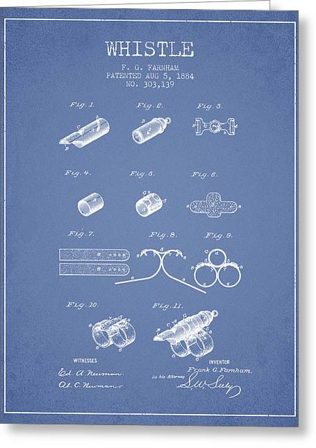 Whistle Patent From 1884 - Light Blue Greeting Card by Aged Pixel