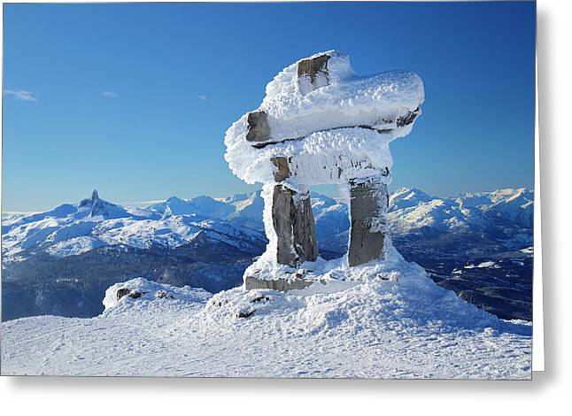 Whistler Mountain Inukshuk Greeting Card by Pierre Leclerc Photography