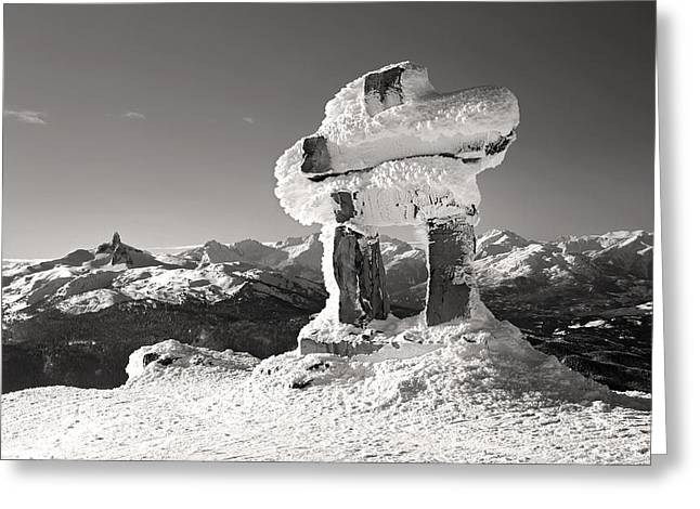 Whistler Summit Inukshuk Black And White Greeting Card by Pierre Leclerc Photography