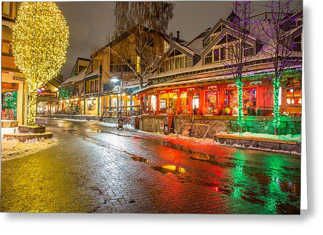Whistler Village Colors Greeting Card by Pierre Leclerc Photography