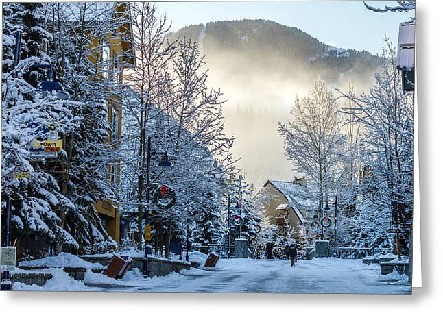 Whistler Village On A Sunny Winter Day Greeting Card by Pierre Leclerc Photography