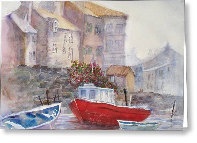 Whitby Harbour Greeting Card by Mohamed Hirji