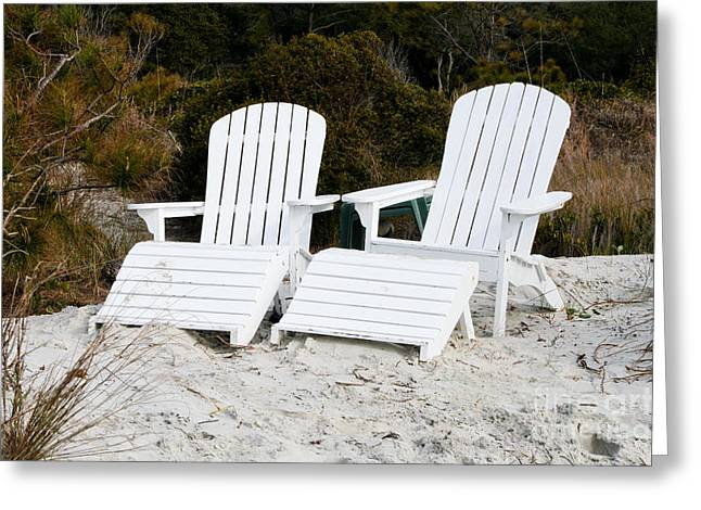 White Adirondack Chairs In The Sand Greeting Card by Thomas Marchessault