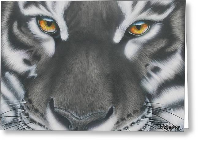 White And Black Tiger Greeting Card