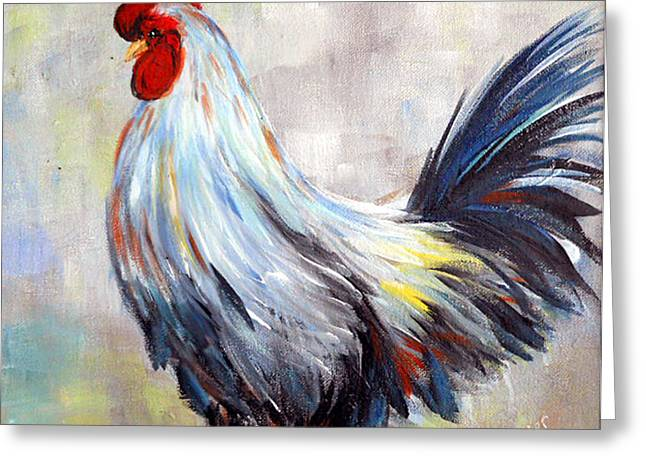 White And Blue Rooster Greeting Card by Dorothy Maier