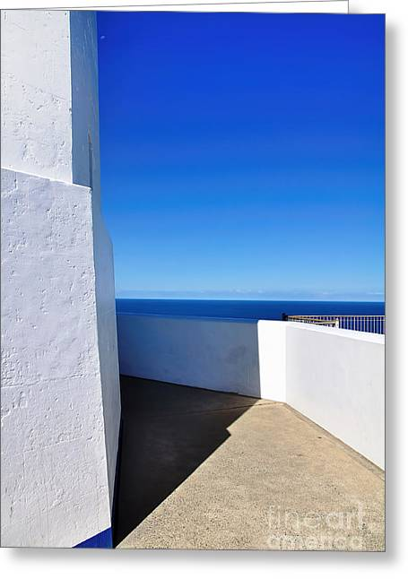 White And Blue To Ocean View Greeting Card by Kaye Menner