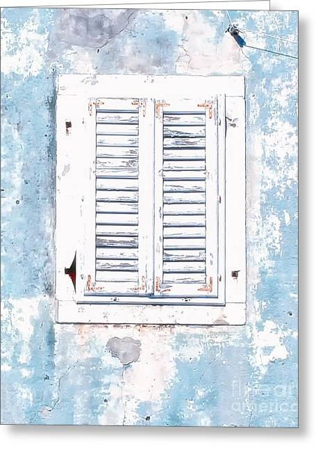 White And Blue Window Greeting Card