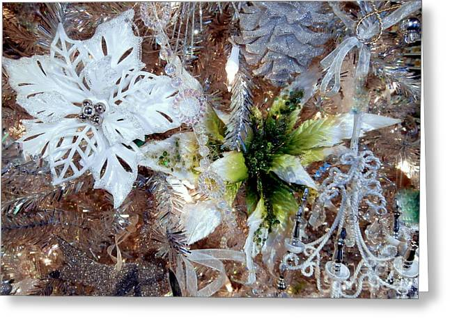 White And Silver Poinsettia Sparkle Greeting Card by Janine Riley