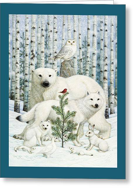 White Animals Red Bird Greeting Card