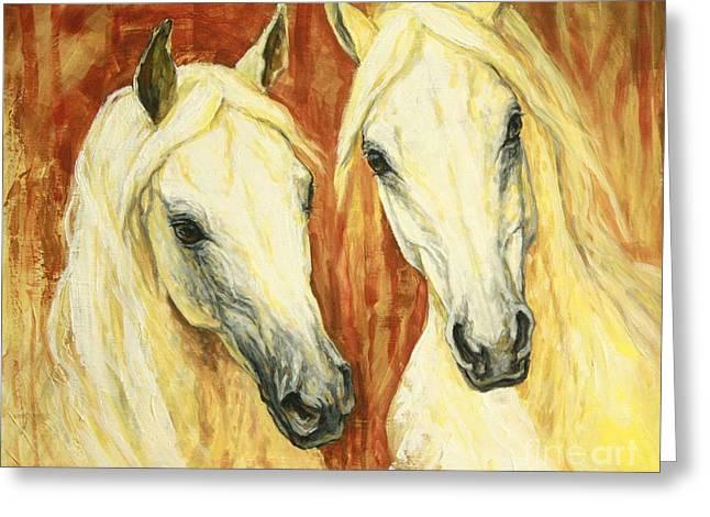 White Arabian Horses Greeting Card by Silvana Gabudean Dobre