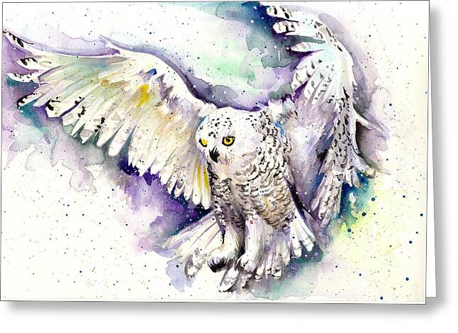 White Arctic Polar Owl - Wizard Dynamic White Owl Greeting Card by Tiberiu Soos