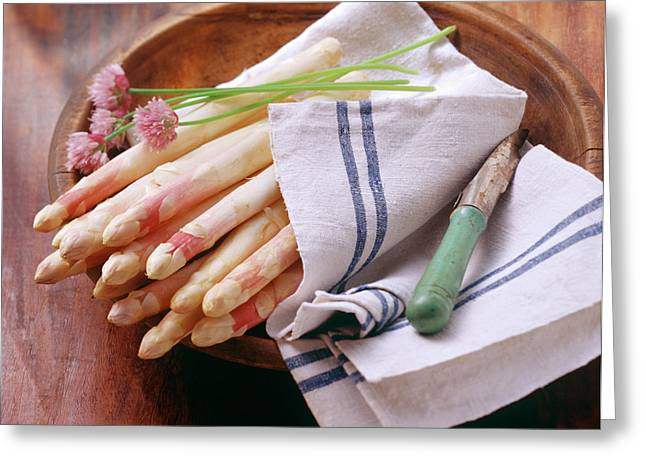 White Asparagus With Fresh Chives On Tea Towel Greeting Card