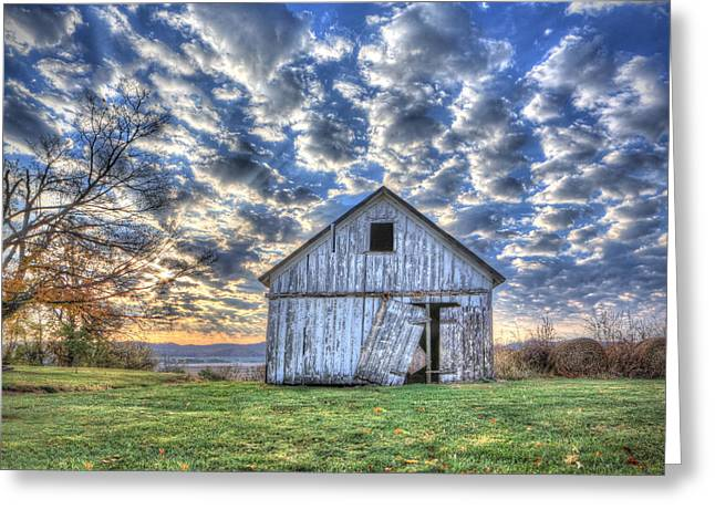 White Barn At Sunrise Greeting Card