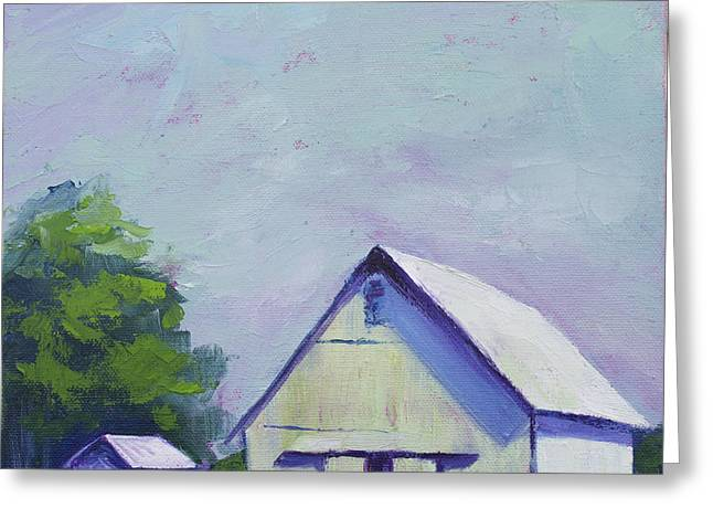 White Barn Greeting Card by Kristin Whitney