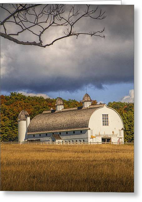 White Barn Of The D.h. Day Farm Greeting Card by Randall Nyhof