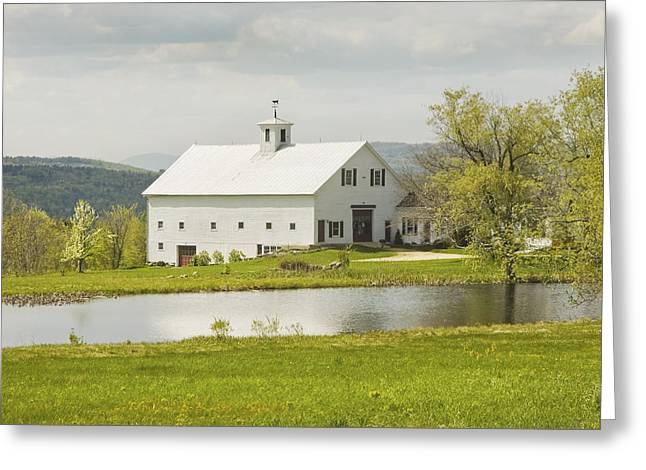White Barn On Farm In Maine Fine Art Prints Greeting Card by Keith Webber Jr