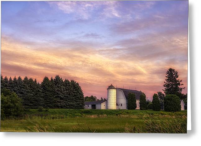 White Barn Sunset Greeting Card