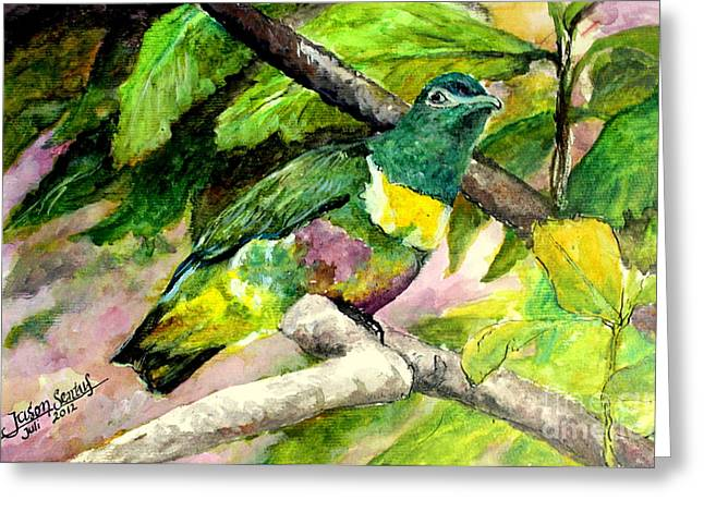 Greeting Card featuring the painting White-bibbed Fruit Dove  by Jason Sentuf