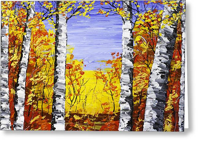 White Birch Tree Abstract Painting In Fall Greeting Card