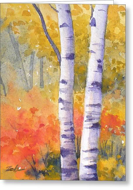 White Birches In Autumn Greeting Card