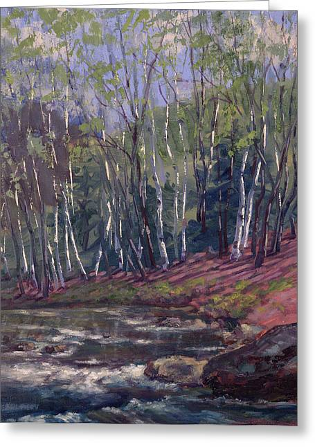White Birches On Otter Brook Greeting Card