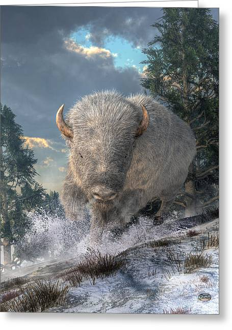 White Bison Greeting Card by Daniel Eskridge