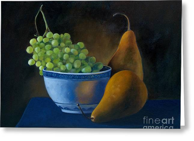 White Bowl With Grapes Greeting Card by Stephanie Allison