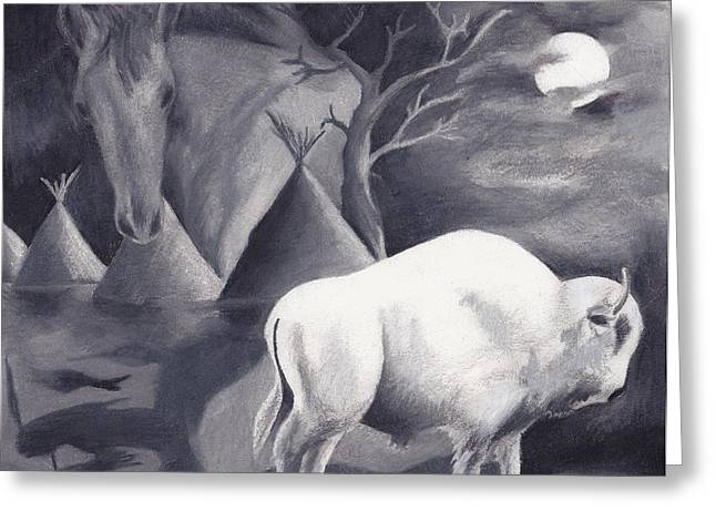 White Buffalo Greeting Card by Molly Williams