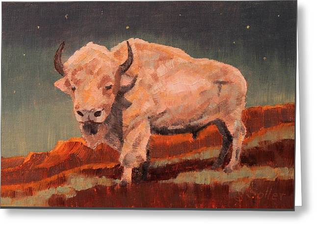 White Buffalo Nocturne Greeting Card