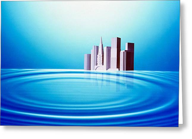 White Buildings Float Behind Large Greeting Card by Panoramic Images
