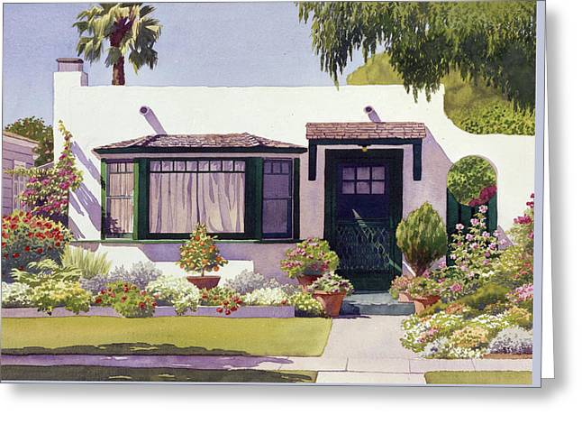 White Bungalow In Coronado Greeting Card