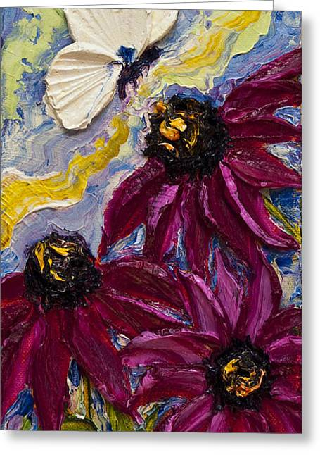 White Butterfly And Purple Flowers Greeting Card by Paris Wyatt Llanso