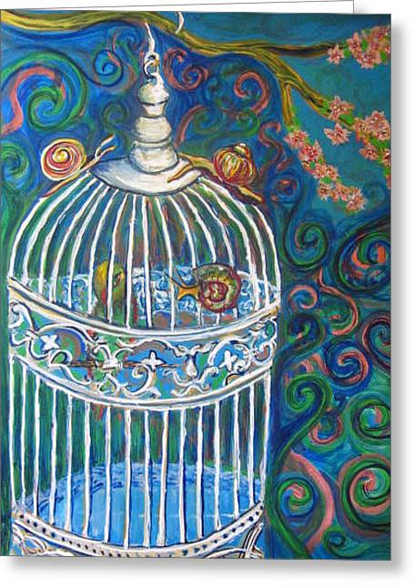 White Cage Greeting Card by Cherie Sexsmith