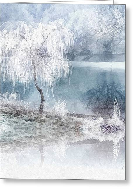White Calm Greeting Card by Mo T