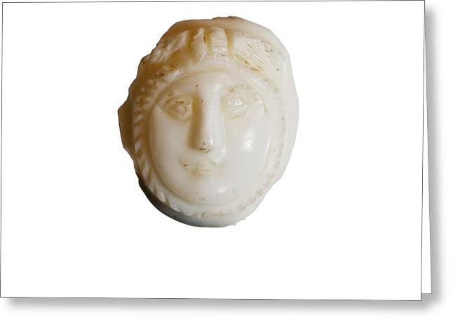 white Cameo mask of Medusa Greeting Card