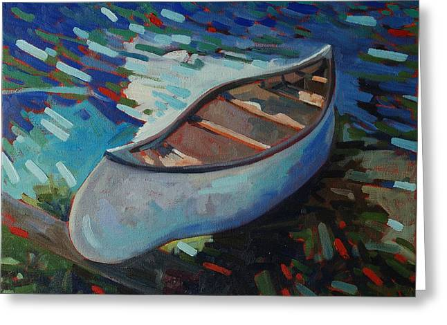 White Canoe Greeting Card by Phil Chadwick