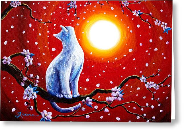 White Cat In Bright Sunset Greeting Card by Laura Iverson