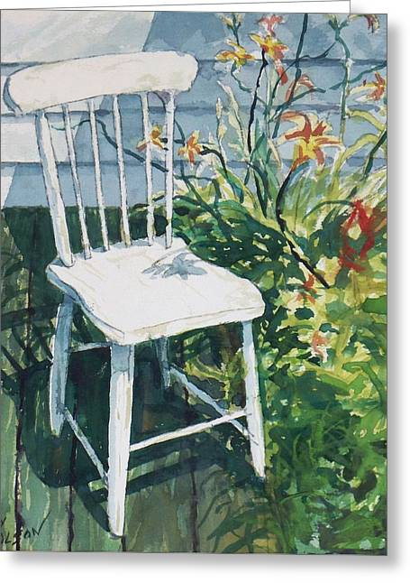 Greeting Card featuring the painting White Chair And Day Lilies by Joy Nichols