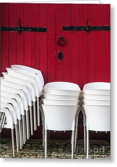 White Chairs Greeting Card by Carlos Caetano