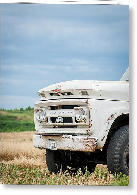 White Chevy Truch Greeting Card