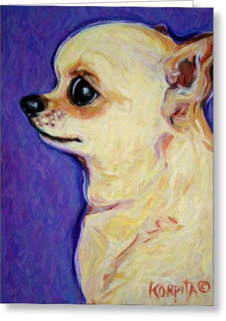 White Chihuahua - Sweet Pea Greeting Card by Rebecca Korpita