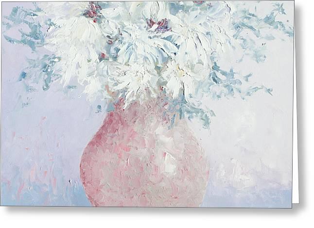 White Chrysanthemums Greeting Card by Jan Matson