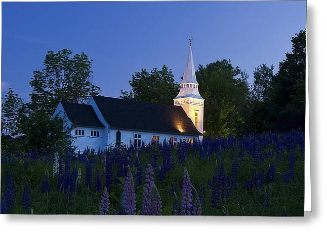 White Church At Dusk In A Field Of Lupines Greeting Card